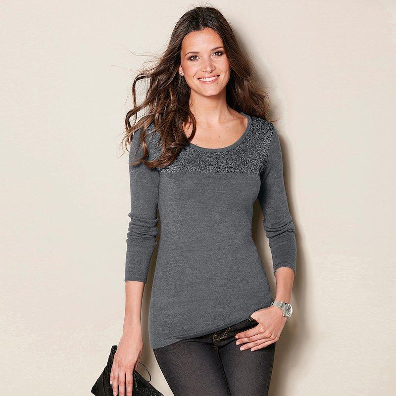 Jersey manga larga tricot canesú hilos metalizados