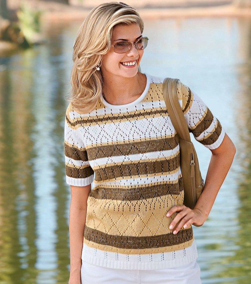 Jersey mujer manga corta punto tricot de fantasía