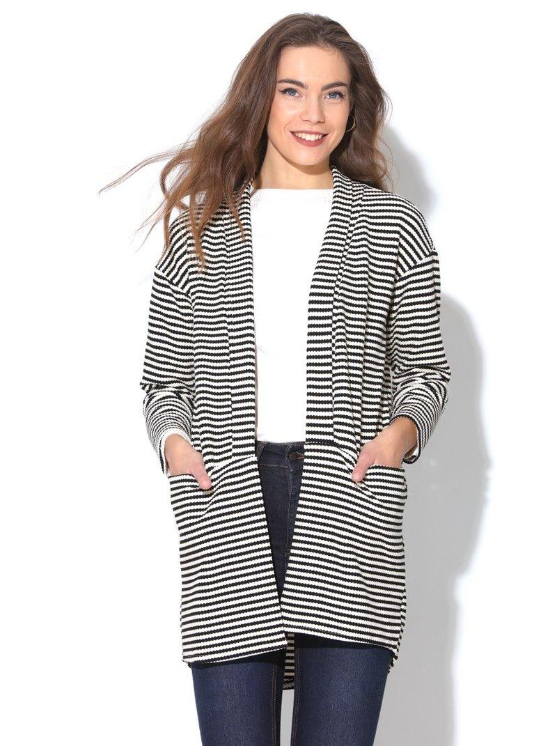 Chaqueta tricot larga de punto rayas bicolores mujer