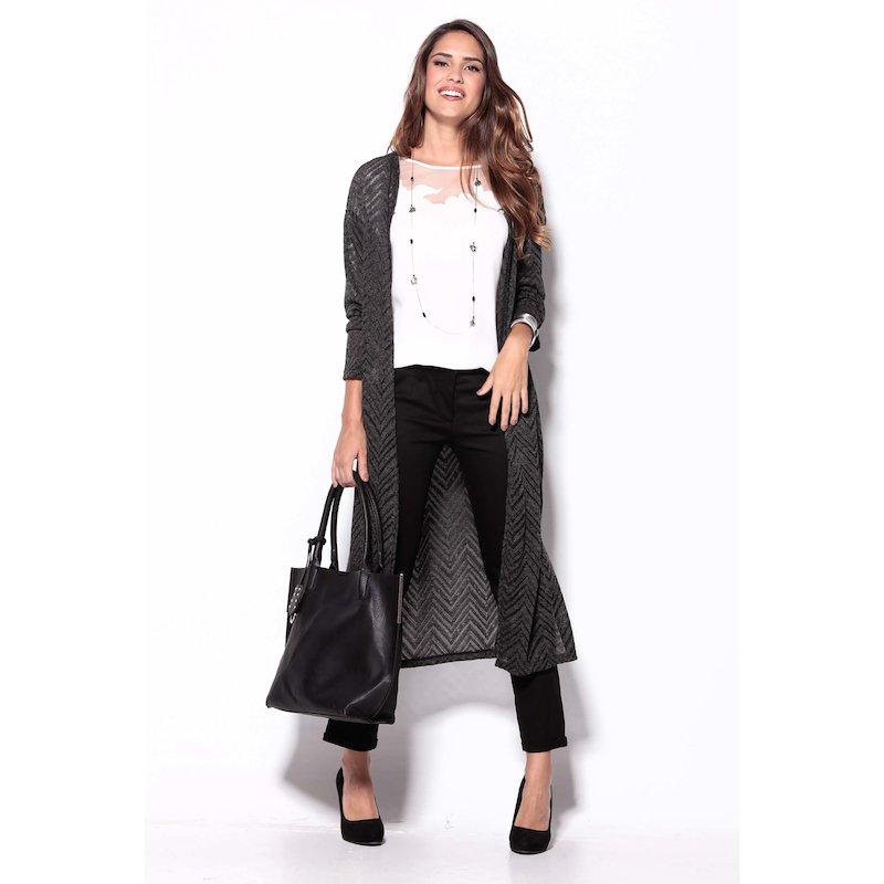 Chaqueta larga mujer manga larga tricot con calado