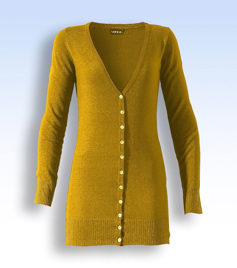 Chaqueta cárdigan larga mujer de punto tricot