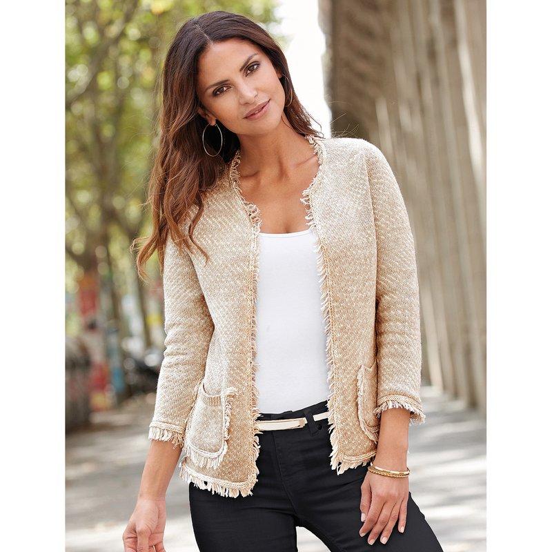 Chaqueta mujer en tricot de fantasía con flecos