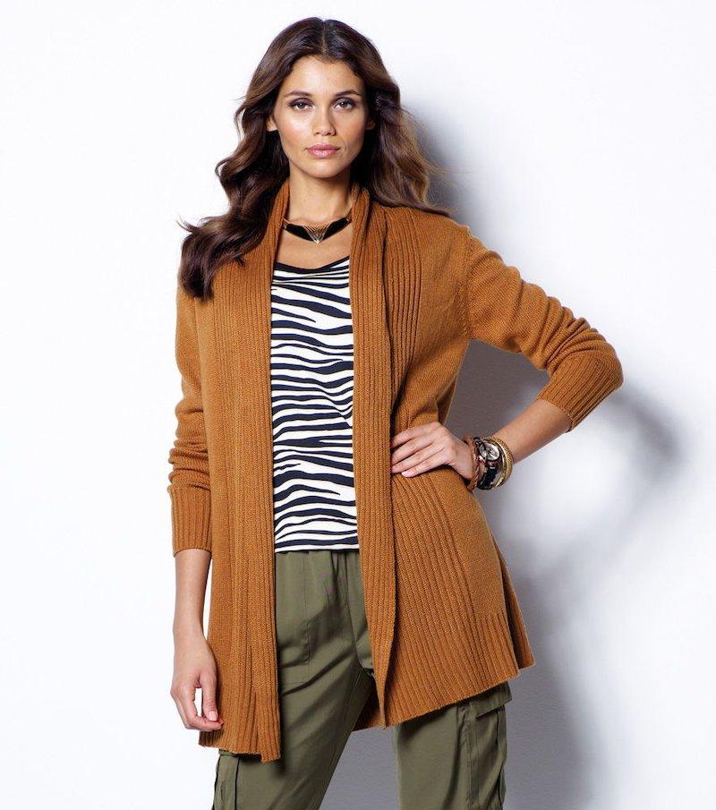Chaqueta mujer manga larga tricot con cinturón - Beige