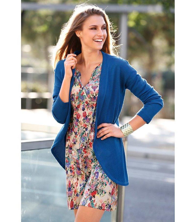 Chaqueta larga mujer manga larga tricot - Azul