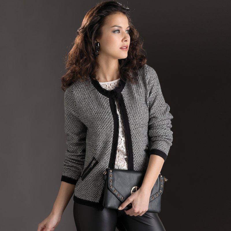 Chaqueta mujer manga larga tricot con vivo - Negro