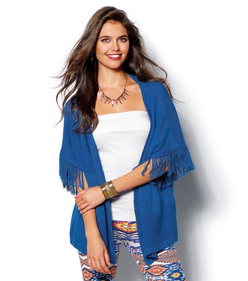 Chaqueta poncho mujer tricot con flecos - Azul