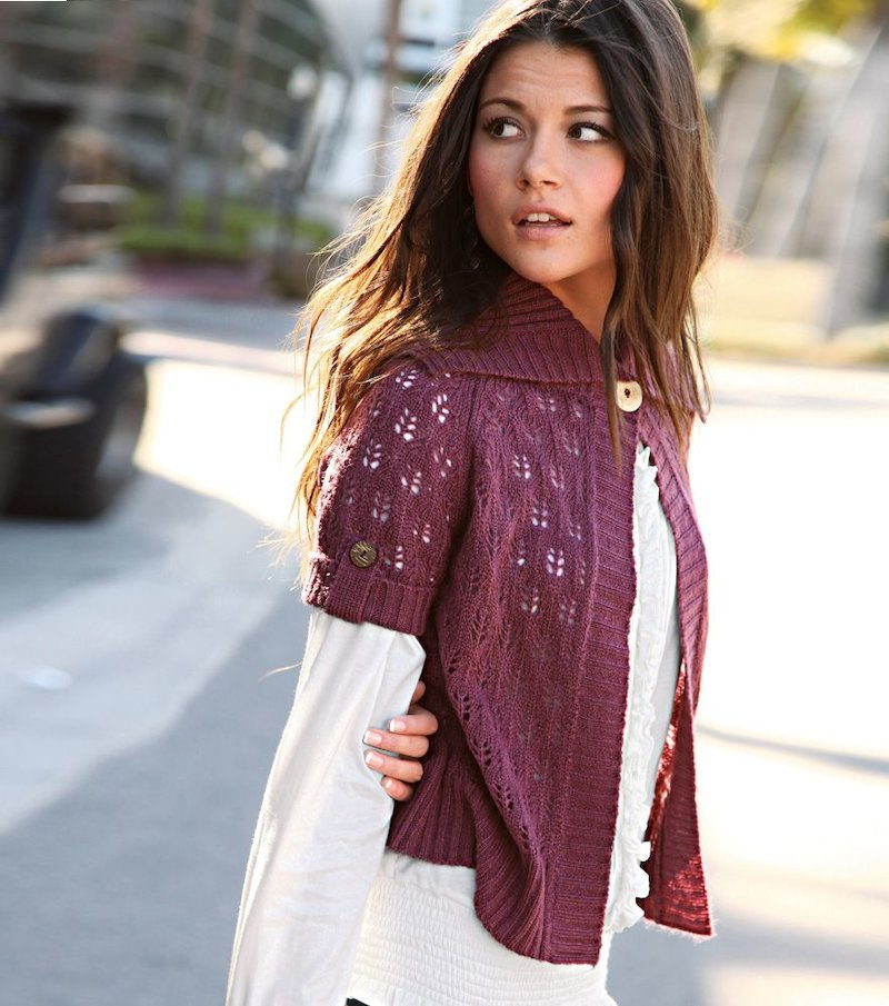 Chaqueta mujer manga corta tricot