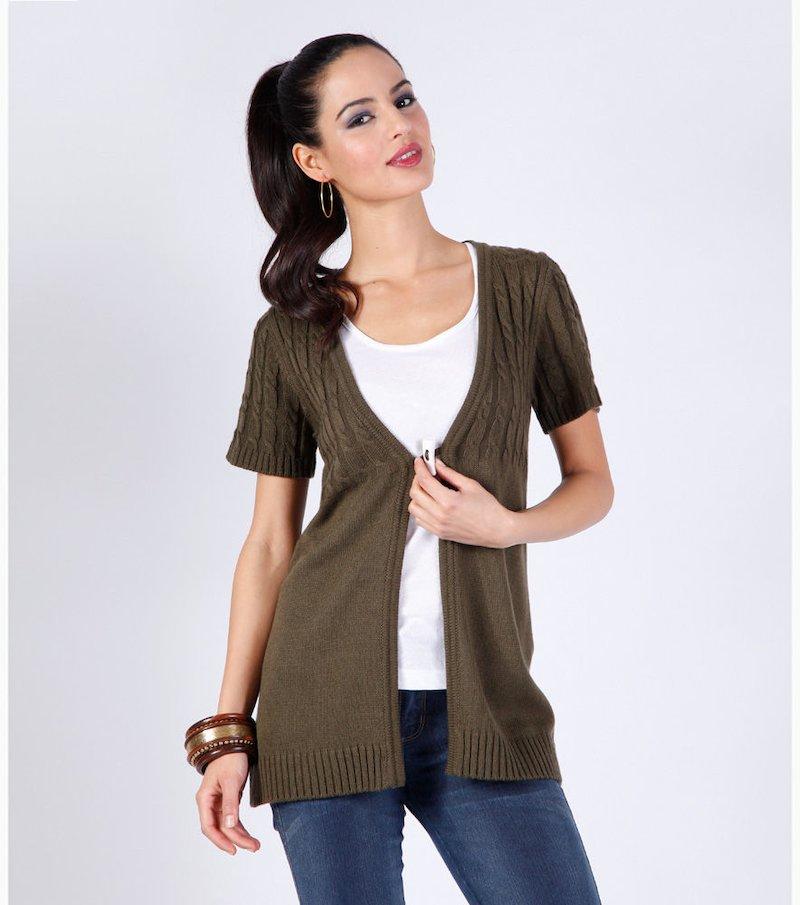 Chaqueta mujer manga corta punto tricot - Verde