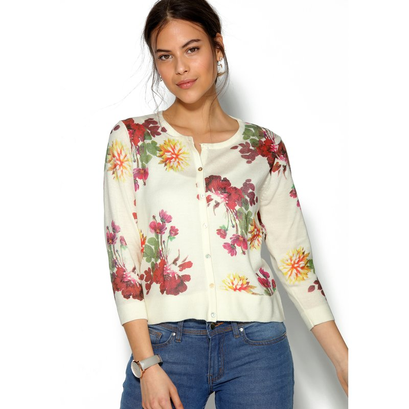 Cárdigan chaqueta mujer flores tricot tacto cachemira