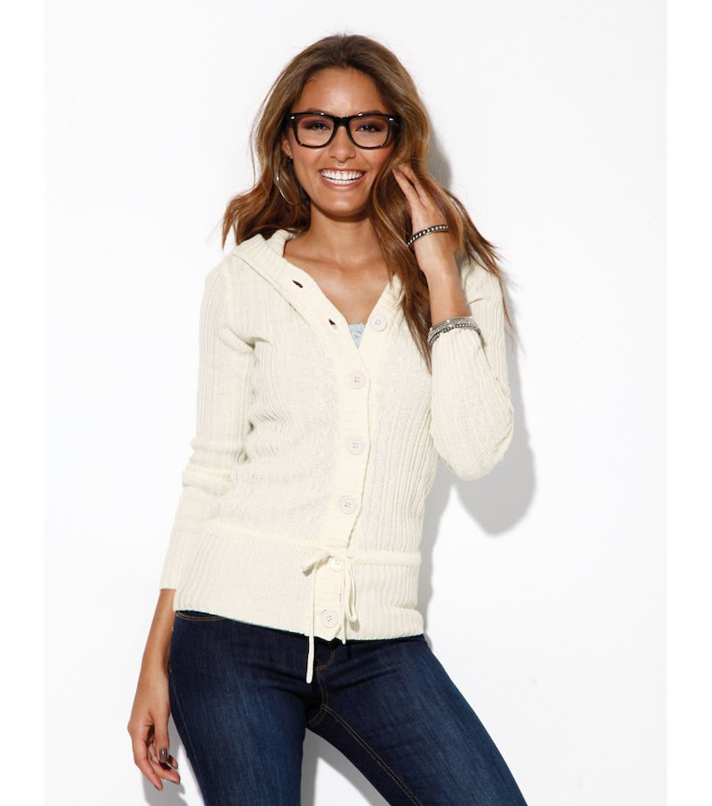 Chaqueta mujer manga larga tricot con capucha - Blanco