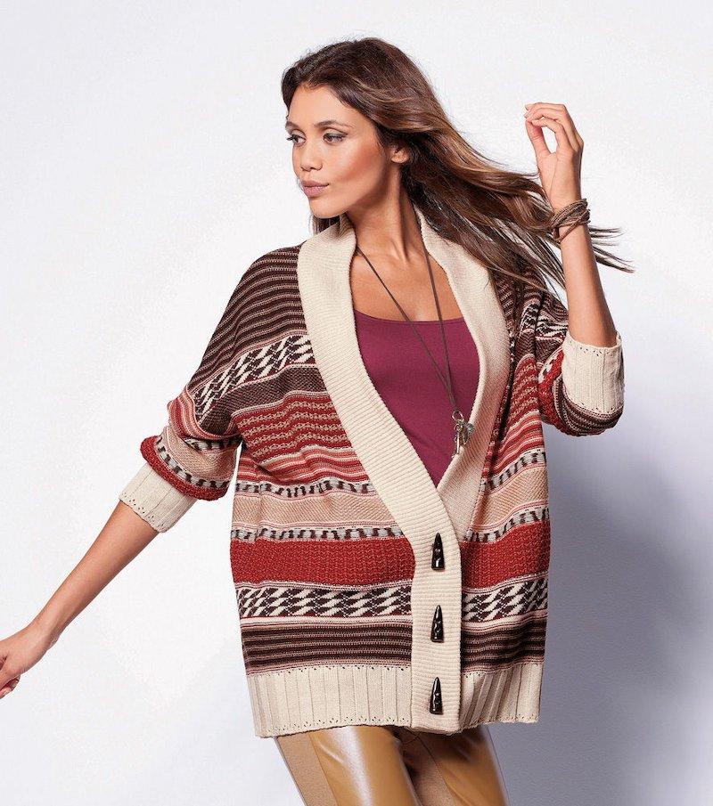 Chaqueta mujer manga larga tricot con fantasía