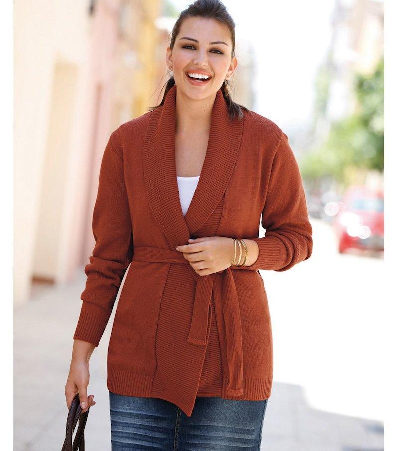 Chaqueta larga canalé de mujer punto tricot - Naranja