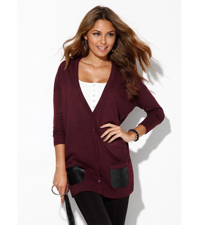Chaqueta larga mujer con coderas tricot