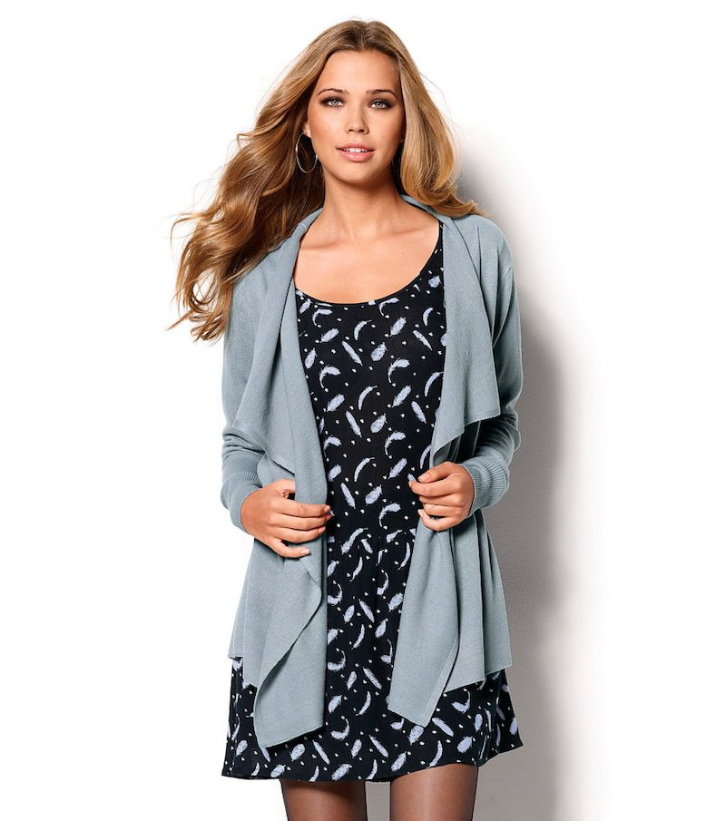 Chaqueta mujer manga larga tricot asimétrica