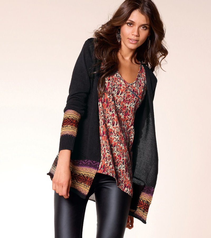 Chaqueta mujer manga larga con cenefa tricot