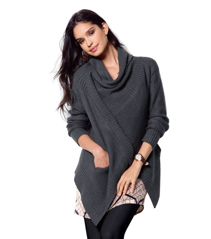 Chaqueta mujer manga larga tricot escote cruzado