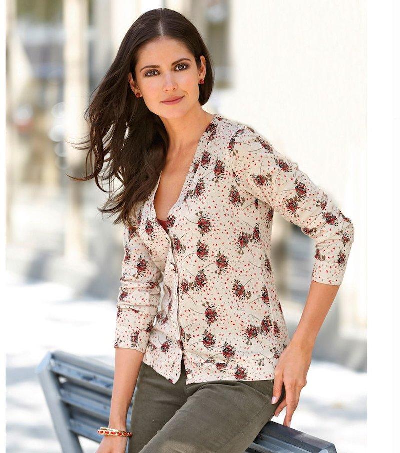 Chaqueta mujer manga larga estampada tricot