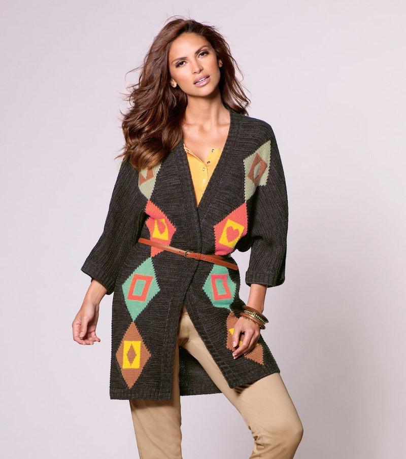 Chaqueta larga mujer tricot multicolor