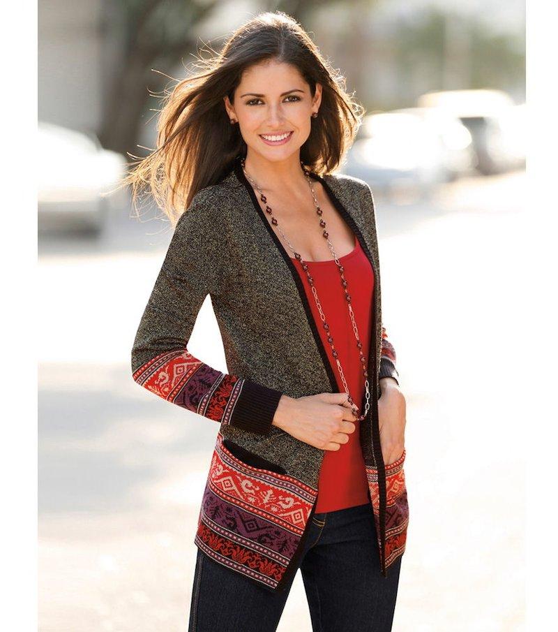 Chaqueta mujer manga larga tricot étnica - Gris