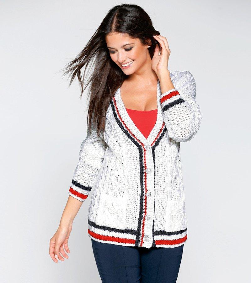 Chaqueta mujer manga larga tricot tricolor trenzas