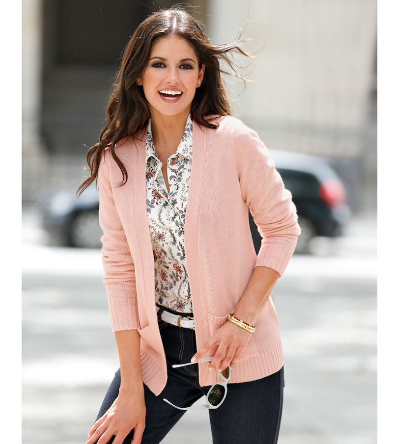 Chaqueta mujer manga larga tricot con bolsillos - Rosa