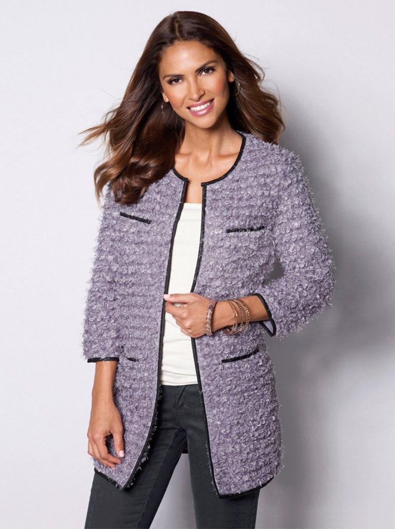 Chaqueta larga mujer suave punto tricot - Lila