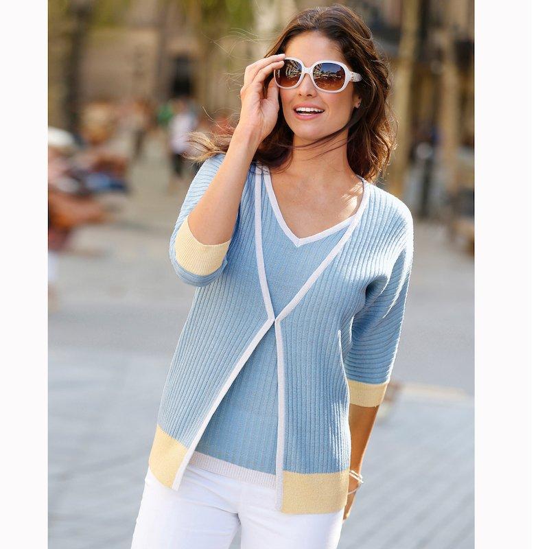 Chaqueta mujer tricot canalé manga 3/4 tricolor - Azul