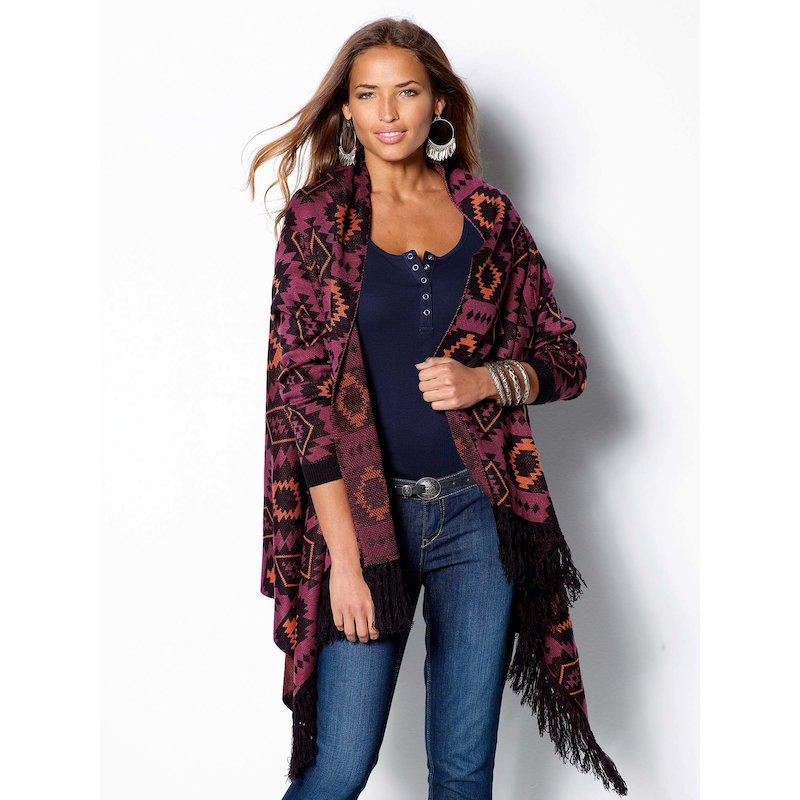 Chaqueta mujer manga larga flecos estilo navajo