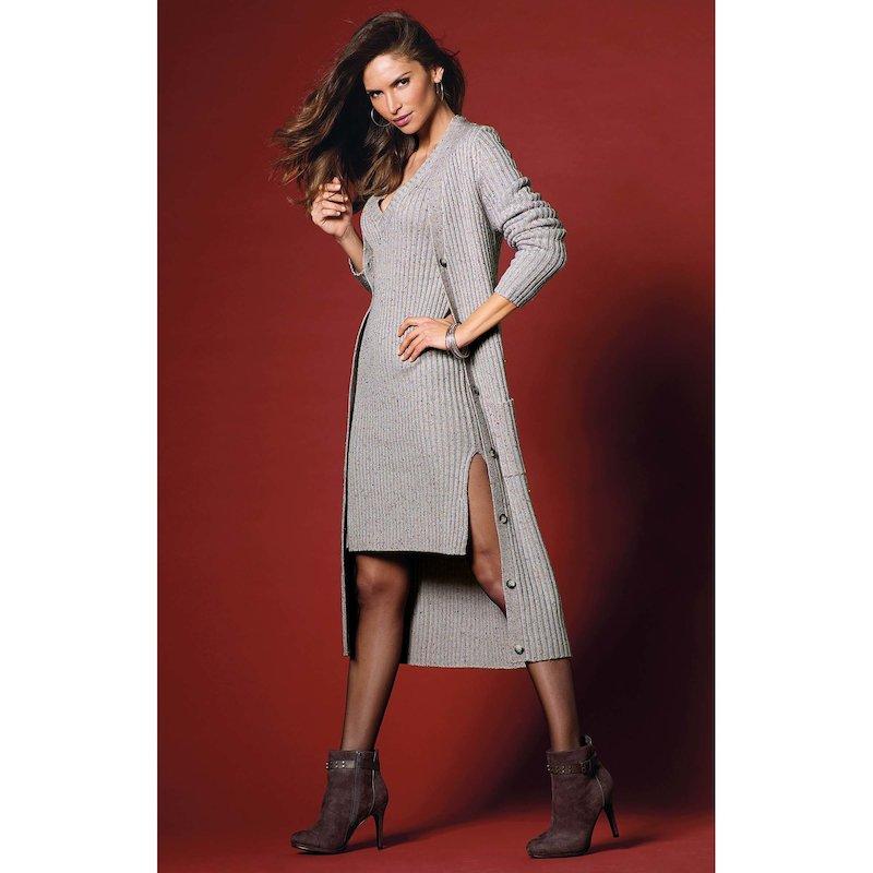 Chaqueta extra larga mujer manga larga tricot