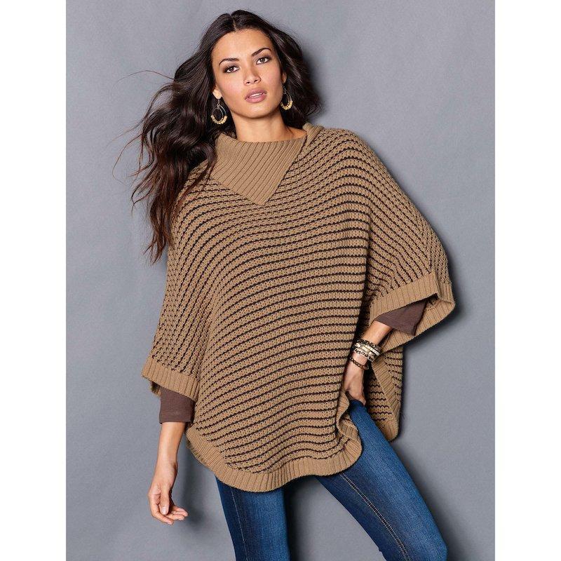 Capa poncho mujer tricot