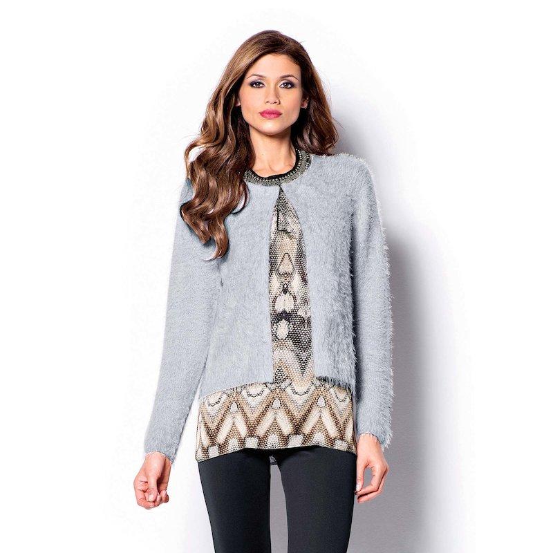 Chaqueta de vestir mujer tricot efecto pelo - Gris