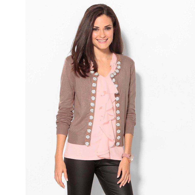 Chaqueta cárdigan mujer con abalorios tricot