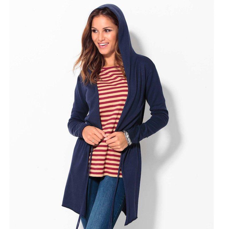 Chaqueta mujer manga larga con capucha y cordón
