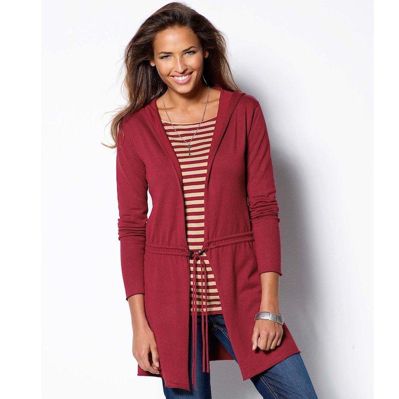 Chaqueta mujer manga larga con capucha y cordón - Rojo
