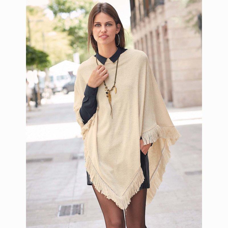 Poncho para mujer tricot con flecos - Crudo