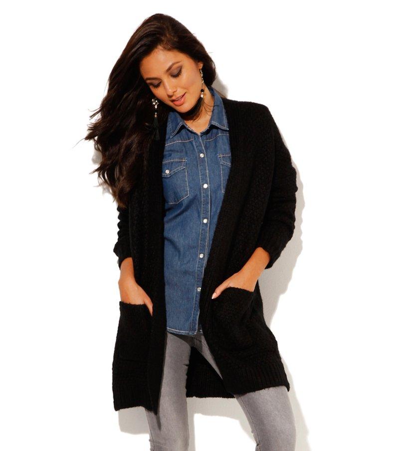 Chaqueta larga mujer manga larga tricot negro