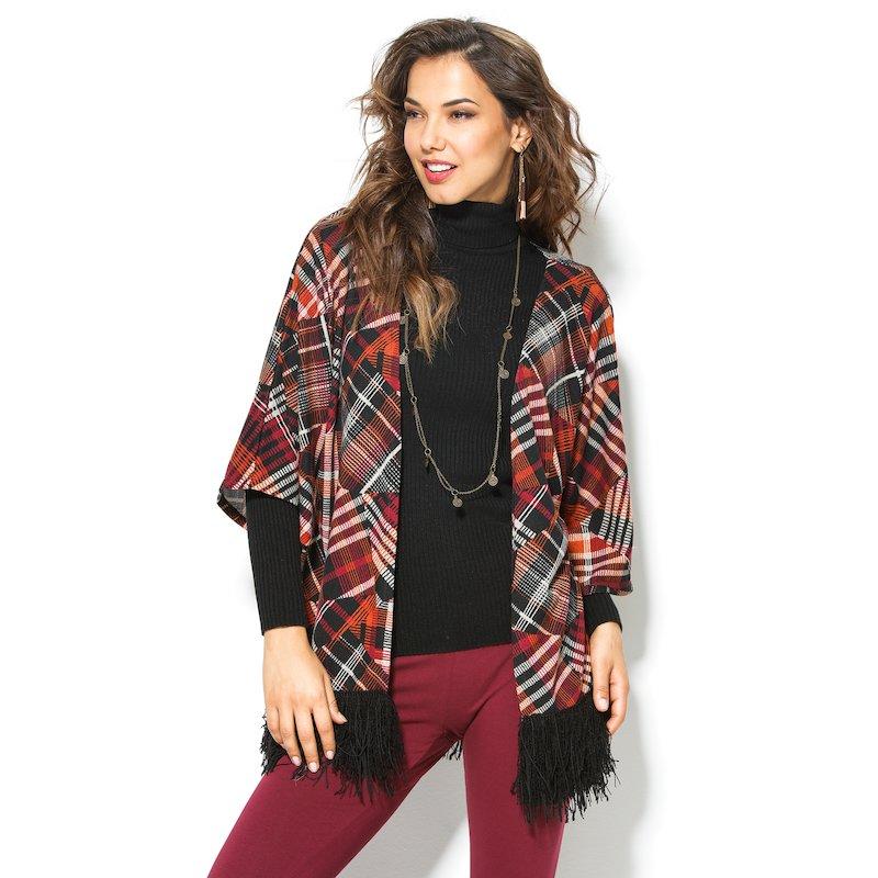 Chaqueta mujer cuadros tricot con flecos - Negro