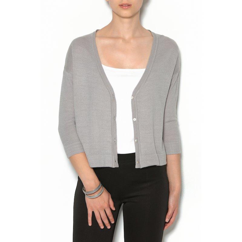 Chaqueta corta mujer con botones punto tricot