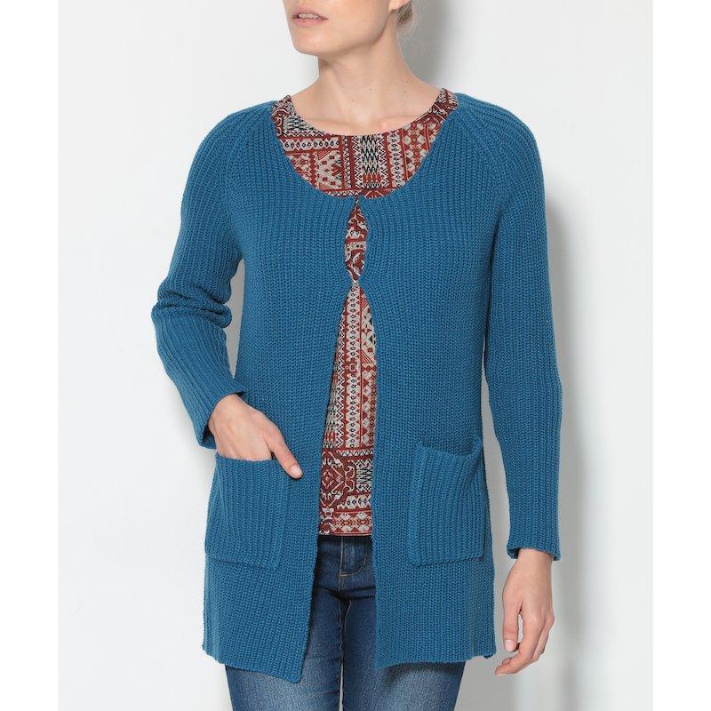 Cárdigan mujer de manga larga punto tricot