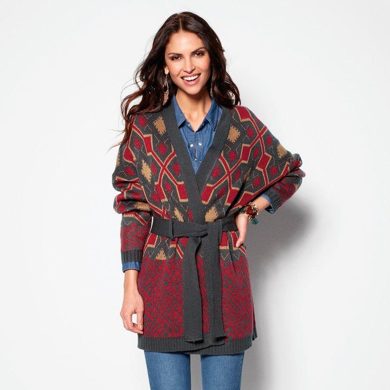 Chaqueta mujer punto tricot jacquard y cinturón