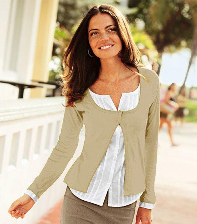 Chaqueta blusa mujer efecto doble de algodón - Beige