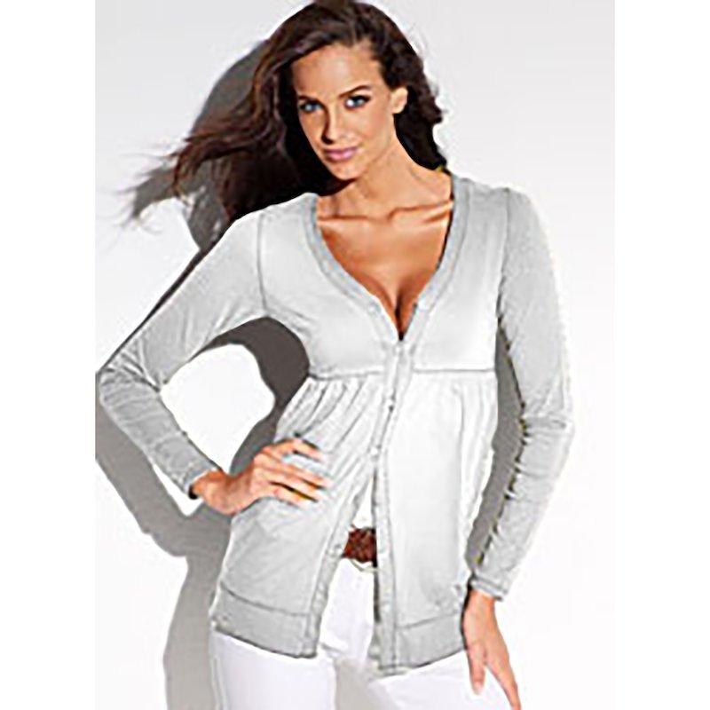 Chaqueta mujer manga larga de algodón - Blanco