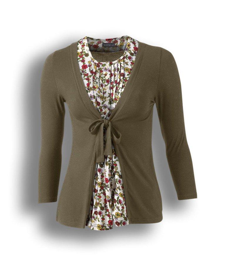 Chaqueta camiseta mujer manga 3/4 de efecto doble