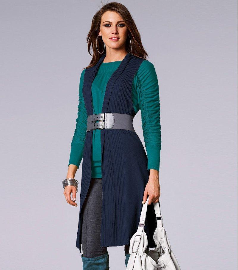Chaleco largo mujer punto tricot