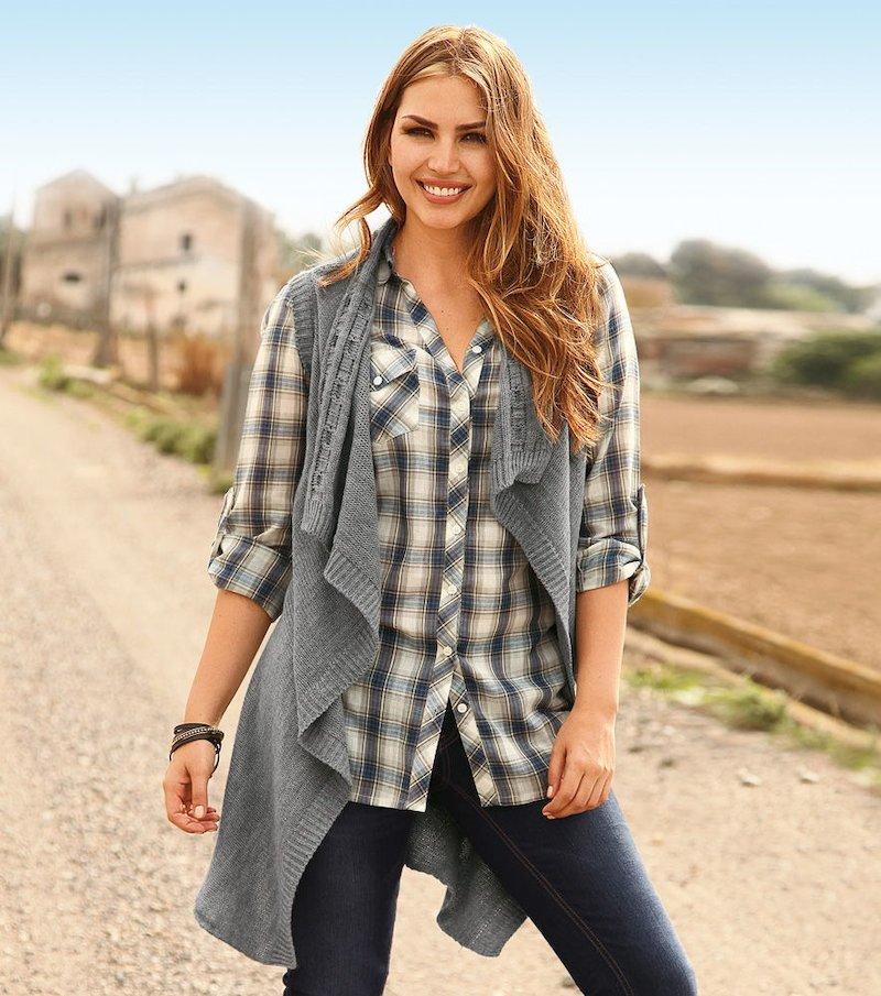 Chaleco largo mujer asimétrico punto tricot - Gris
