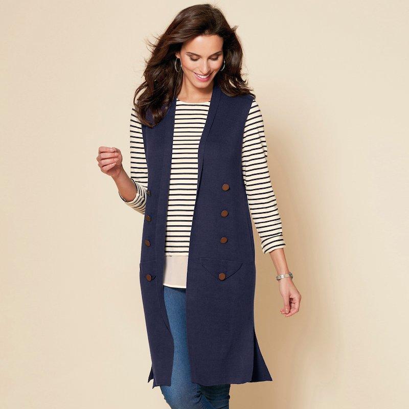 Chaleco largo de tricot con botones fijos