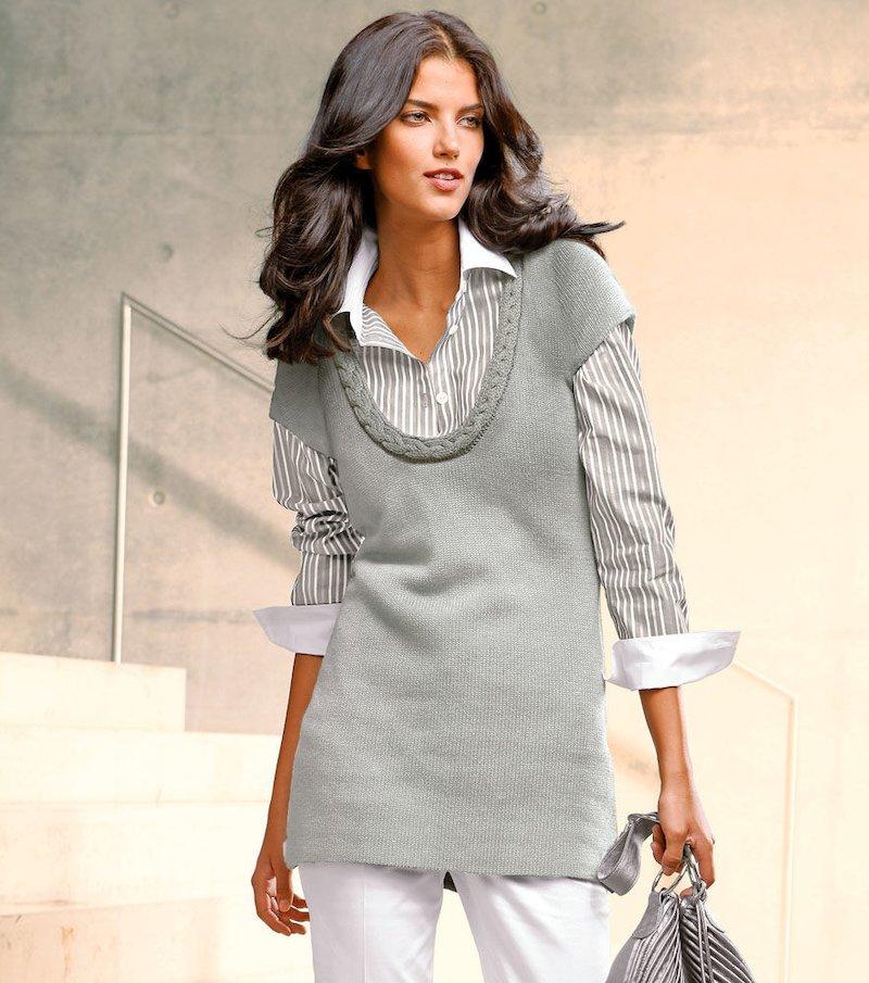 Chaleco mujer largo de punto tricot con trenza - Gris