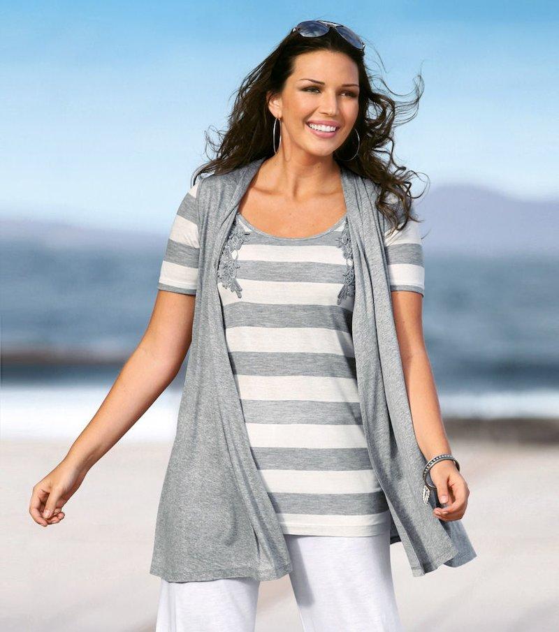 Chaleco largo mujer asimétrico de punto crochet