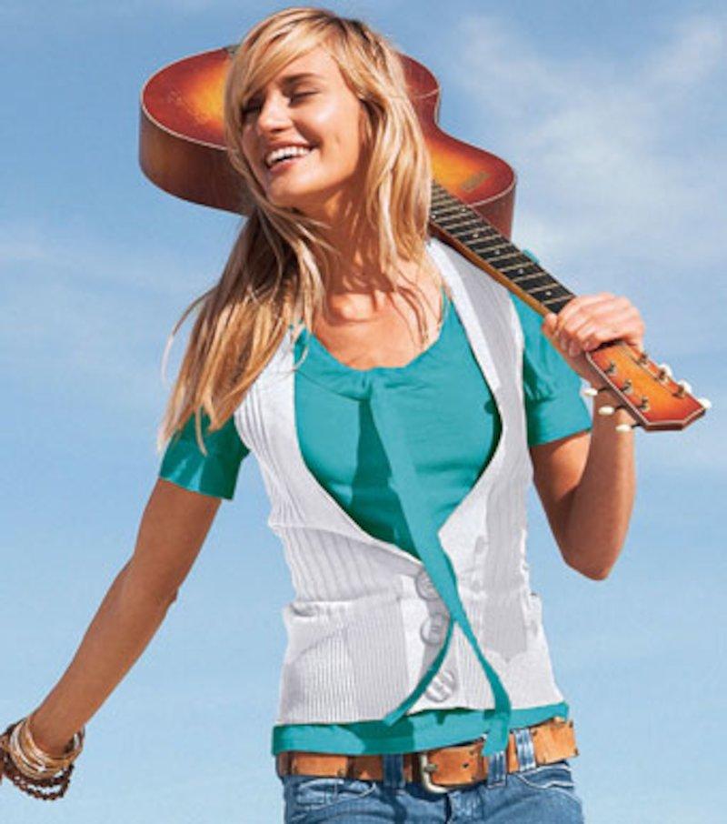 Chaleco mujer de punto tricot escote V - Blanco