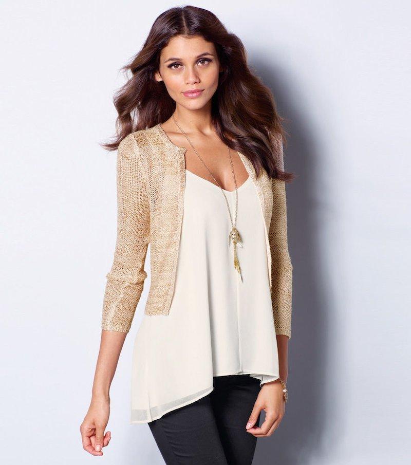 Chaqueta mujer manga larga tricot  lentejuelas